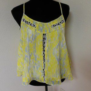 Lovers + Friends Yellow and Grey Flowy Top